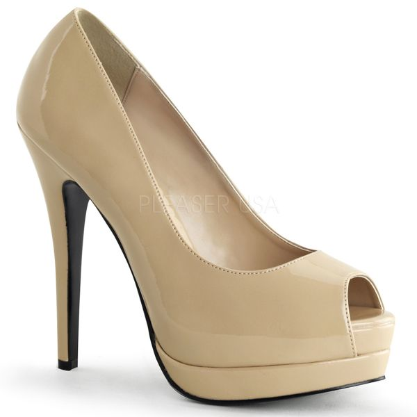 BELLA-12 nude Lack     Peep Toe Plateau Pumps in der Trendfarbe nude aus der Kollektion Bordello von Pleaser USA